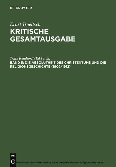 Die Absolutheit des Christentums und die Religionsgeschichte (1902/1912) - Blick ins Buch