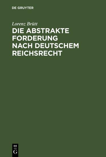 Die abstrakte Forderung nach deutschem Reichsrecht - Blick ins Buch