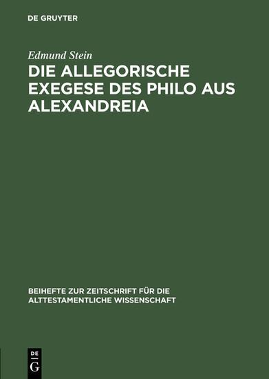 Die allegorische Exegese des Philo aus Alexandreia - Blick ins Buch