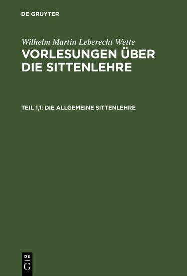 Die allgemeine Sittenlehre - Blick ins Buch