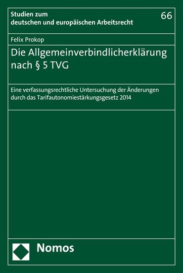 Die Allgemeinverbindlicherklärung nach § 5 TVG - Blick ins Buch