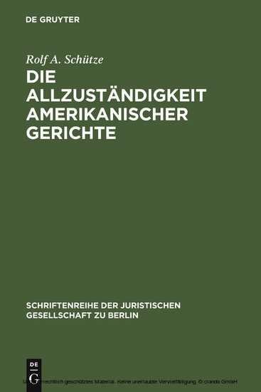 Die Allzuständigkeit amerikanischer Gerichte - Blick ins Buch