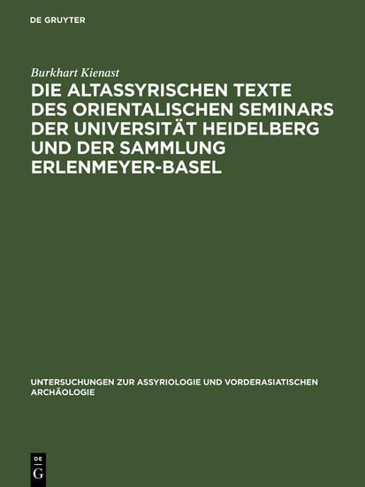 Die altassyrischen Texte des orientalischen Seminars der Universität Heidelberg und der Sammlung Erlenmeyer-Basel - Blick ins Buch