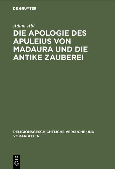 Die Apologie des Apuleius von Madaura und die antike Zauberei - Blick ins Buch