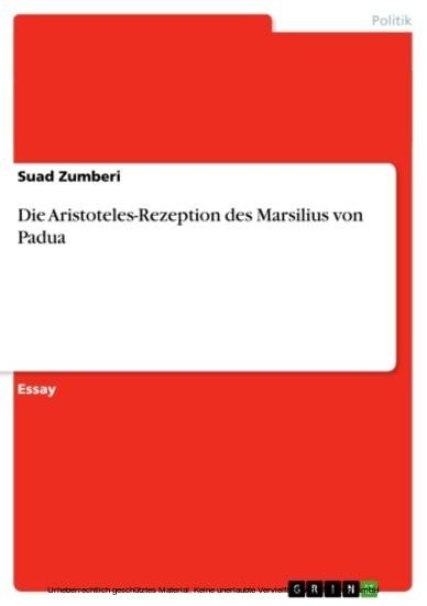 Die Aristoteles-Rezeption des Marsilius von Padua - Blick ins Buch