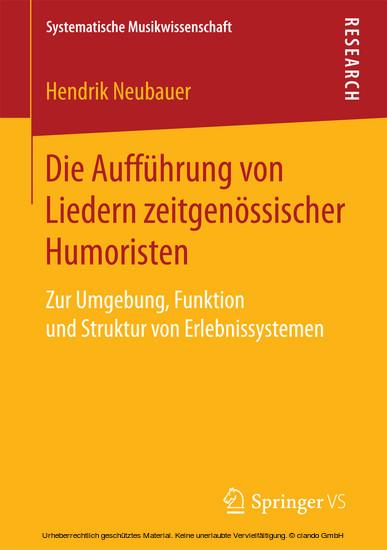 Die Aufführung von Liedern zeitgenössischer Humoristen - Blick ins Buch