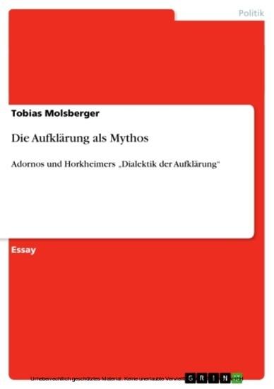 Die Aufklärung als Mythos - Blick ins Buch
