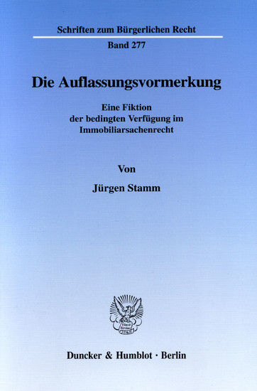 Die Auflassungsvormerkung. - Blick ins Buch