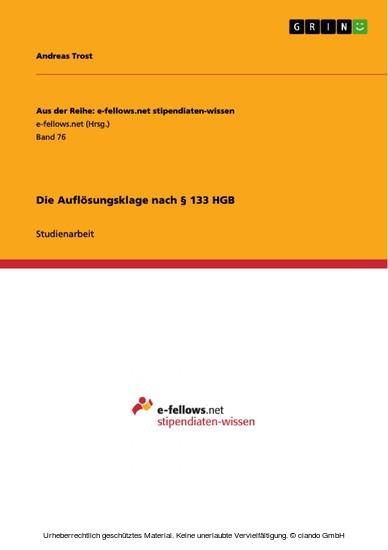 Die Auflösungsklage nach § 133 HGB - Blick ins Buch