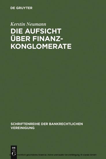 Die Aufsicht über Finanzkonglomerate - Blick ins Buch