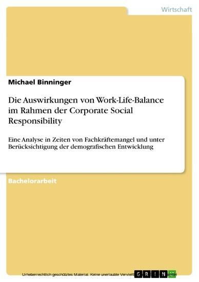 Die Auswirkungen von Work-Life-Balance im Rahmen der Corporate Social Responsibility - Blick ins Buch