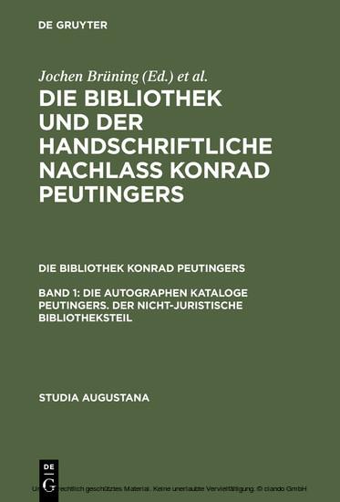 Die autographen Kataloge Peutingers. Der nicht-juristische Bibliotheksteil - Blick ins Buch