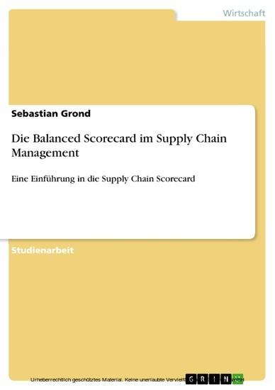 Die Balanced Scorecard im Supply Chain Management - Blick ins Buch