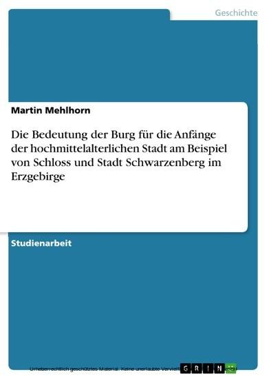 Die Bedeutung der Burg für die Anfänge der hochmittelalterlichen Stadt am Beispiel von Schloss und Stadt Schwarzenberg im Erzgebirge - Blick ins Buch