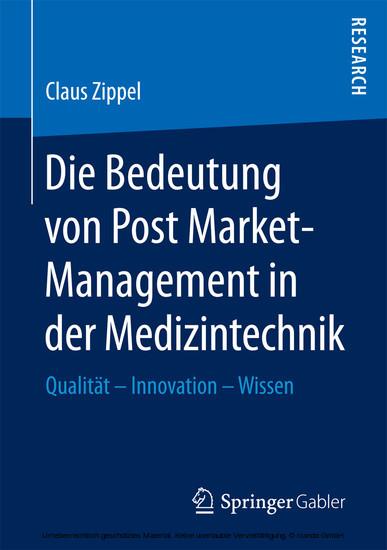 Die Bedeutung von Post Market-Management in der Medizintechnik - Blick ins Buch