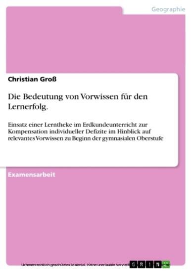 Die Bedeutung von Vorwissen für den Lernerfolg. - Blick ins Buch