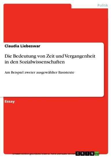 Die Bedeutung von Zeit und Vergangenheit in den Sozialwissenschaften - Blick ins Buch