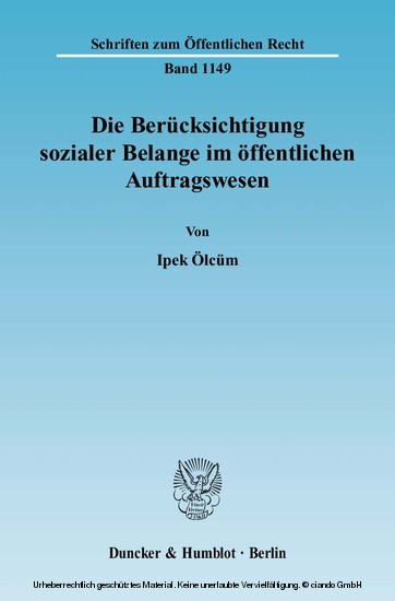 Die Berücksichtigung sozialer Belange im öffentlichen Auftragswesen. - Blick ins Buch