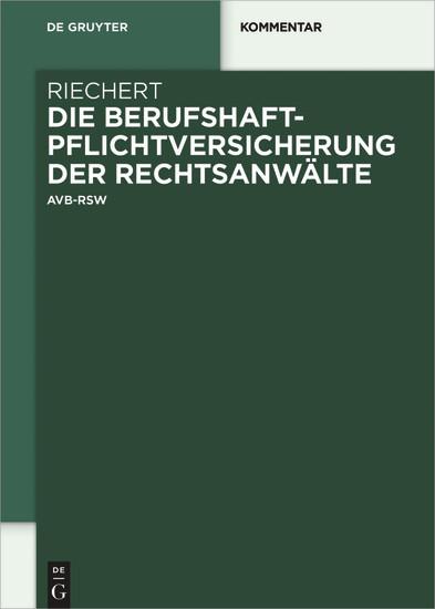 Die Berufshaftpflichtversicherung der Rechtsanwälte - Blick ins Buch