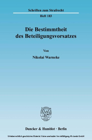 Die Bestimmtheit des Beteiligungsvorsatzes. - Blick ins Buch
