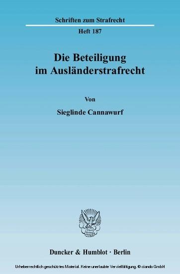 Die Beteiligung im Ausländerstrafrecht. - Blick ins Buch
