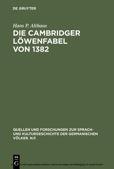 Die Cambridger Löwenfabel von 1382 - Blick ins Buch