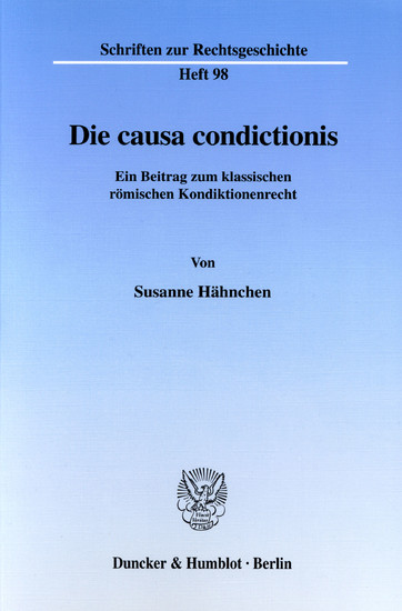 Die causa condictionis. - Blick ins Buch