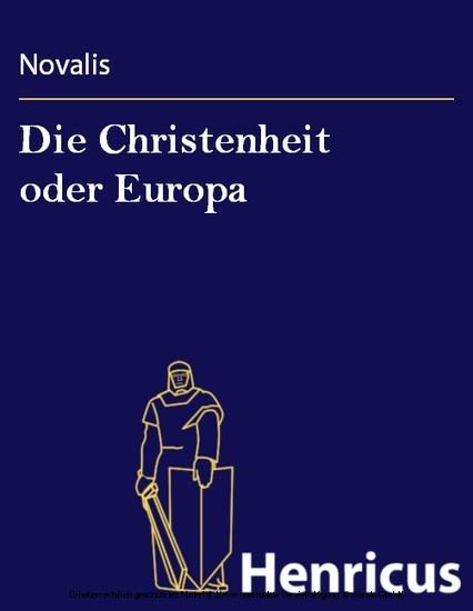 Die Christenheit oder Europa - Blick ins Buch