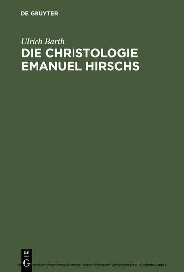 Die Christologie Emanuel Hirschs - Blick ins Buch