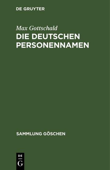 Die Deutschen Personennamen - Blick ins Buch