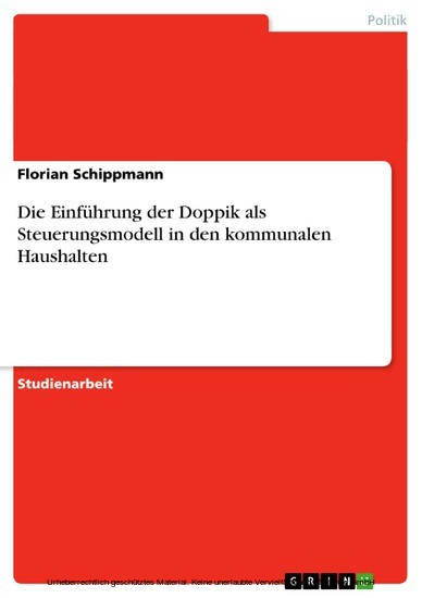 Die Einführung der Doppik als Steuerungsmodell in den kommunalen Haushalten - Blick ins Buch