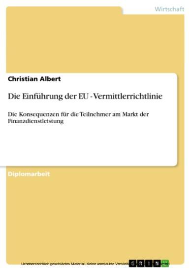 Die Einführung der EU - Vermittlerrichtlinie - Blick ins Buch