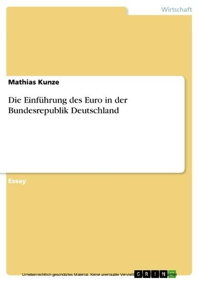 Die Einführung des Euro in der Bundesrepublik Deutschland - Blick ins Buch