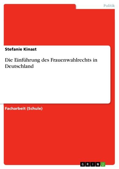 Die Einführung des Frauenwahlrechts in Deutschland - Blick ins Buch