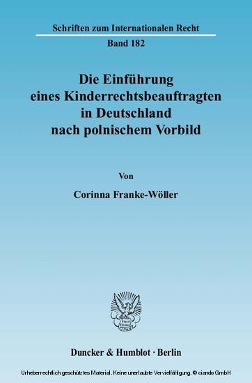 Die Einführung eines Kinderrechtsbeauftragten in Deutschland nach polnischem Vorbild. - Blick ins Buch