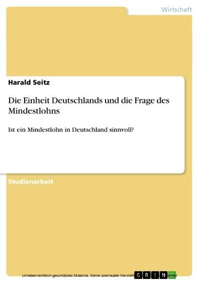 Die Einheit Deutschlands und die Frage des Mindestlohns - Blick ins Buch