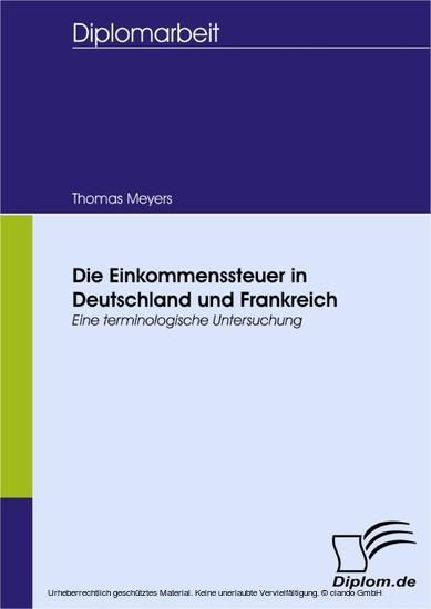 Die Einkommenssteuer in Deutschland und Frankreich - Blick ins Buch