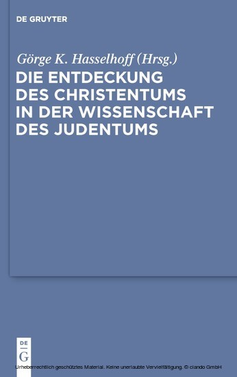 Die Entdeckung des Christentums in der Wissenschaft des Judentums - Blick ins Buch