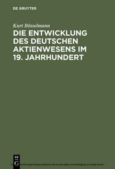 Die Entwicklung des deutschen Aktienwesens im 19. Jahrhundert - Blick ins Buch