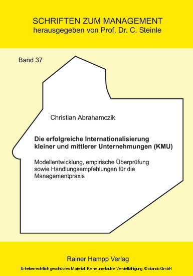 Die erfolgreiche Internationalisierung kleiner und mittlerer Unternehmungen (KMU) - Blick ins Buch