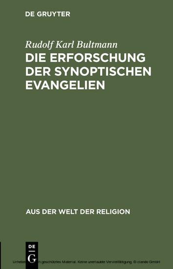 Die Erforschung der synoptischen Evangelien - Blick ins Buch