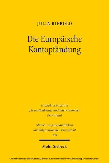 Die Europäische Kontopfändung - Blick ins Buch