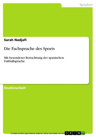 Die Fachsprache des Sports - Blick ins Buch