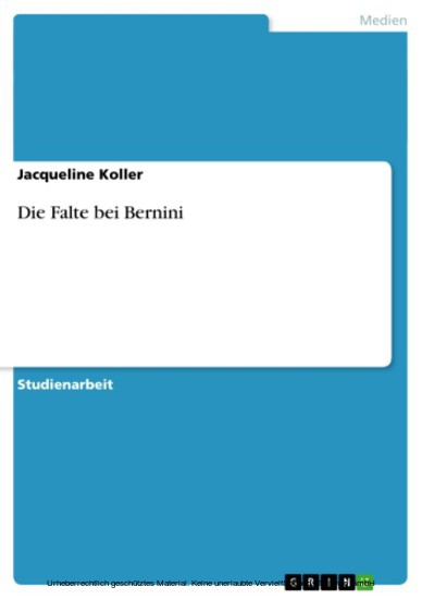 Die Falte bei Bernini - Blick ins Buch