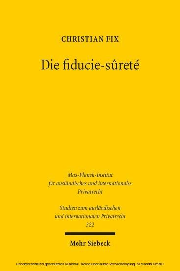 Die fiducie-sûreté - Blick ins Buch