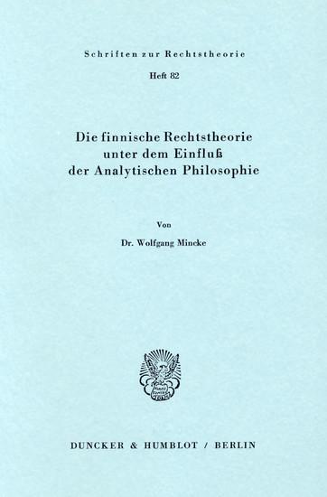 Die finnische Rechtstheorie unter dem Einfluß der Analytischen Philosophie. - Blick ins Buch