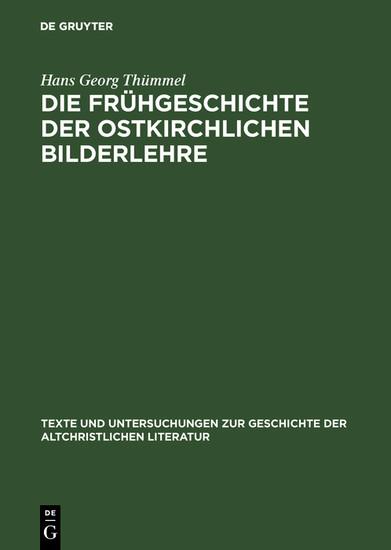Die Frühgeschichte der ostkirchlichen Bilderlehre - Blick ins Buch