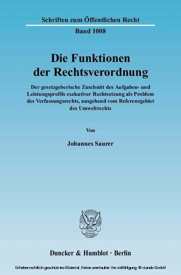 Die Funktionen der Rechtsverordnung. - Blick ins Buch