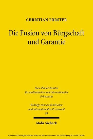 Die Fusion von Bürgschaft und Garantie - Blick ins Buch