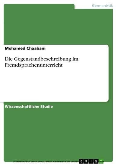 Die Gegenstandbeschreibung im Fremdsprachenunterricht - Blick ins Buch